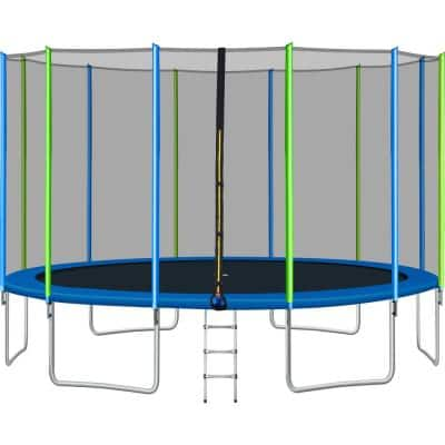 Viraha 16 ft. Round Outdoor Trampoline for Kids with Safety Enclosure Net, Ladder and 12 Wind Stakes