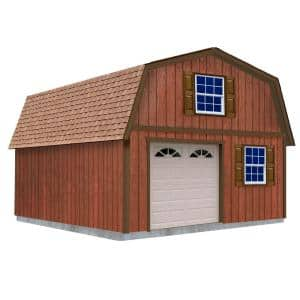 West Virginia 16 ft. x 20 ft. x 16-1/4 ft. 2 Story Wood Garage Kit without Floor