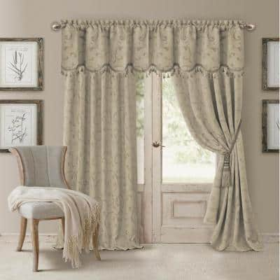 Natural Jacquard Blackout Curtain - 52 in. W x 95 in. L