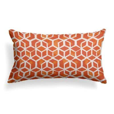 Orange Cubed Outdoor Lumbar Throw Pillow