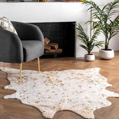 Alferce Faux Cowhide Off-White 6 ft. x 8 ft. Shaped Accent Rug