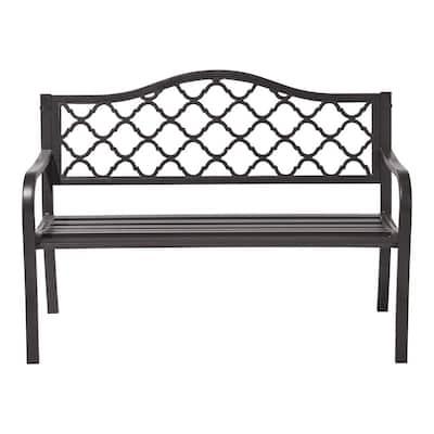 Lattice 50 in. 2-Person Dark Brown Metal Outdoor Bench