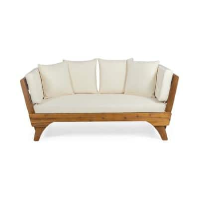 Serene Teak Brown Wood Expandable Outdoor Day Bed with Beige Cushions