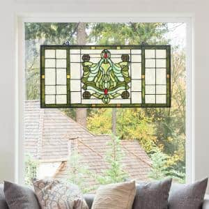 Green Victorian Stained Glass Window Panel