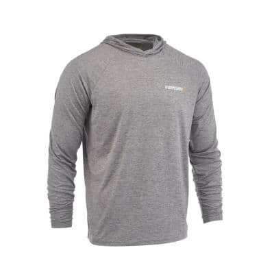 Men's Large Gray Performance Long Sleeved Hoodie Shirt