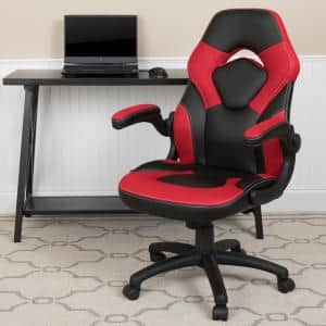 Red LeatherSoft Upholstery Racing Game Chair