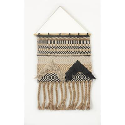 Trellis Beige / Charcoal Geometric Braided Fringed Wall Tapestry