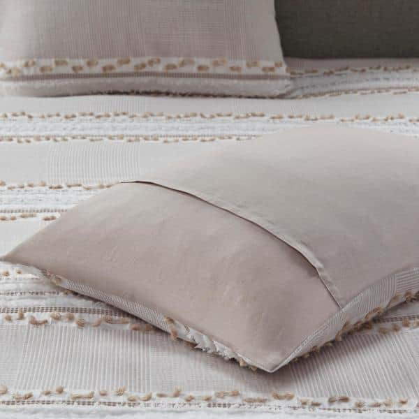 Ink Ivy Lennon 3 Piece Taupe Full Queen Organic Cotton Jacquard Comforter Set Ii10 1081 The Home Depot