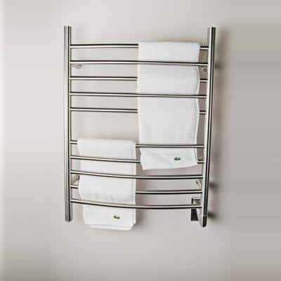 Radiant Curved 10-Bar Hardwired Electric Towel Warmer in Brushed Stainless Steel