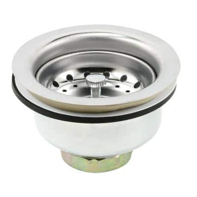 Stainless Steel Basket Strainer fits 3-1/2 in. to 4 in. Chrome with Putty