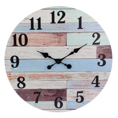 18 in. Worn Blue and White Coastal Wall Hanging Clock