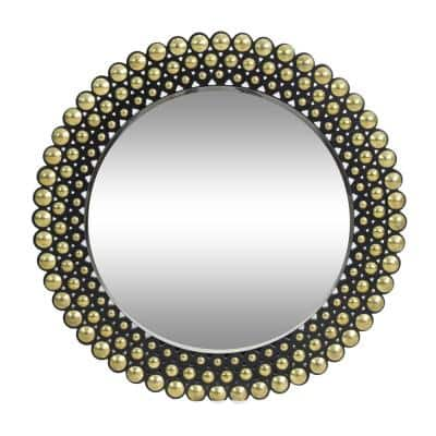 Rone 35.50 in. x 35.50 in. Modern Round Framed Bronze and Black Accent Mirror
