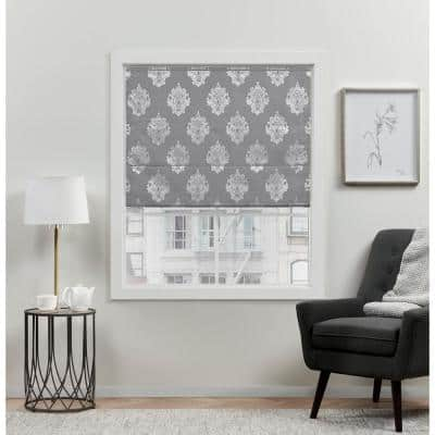 Marseilles Damask Grey Cordless Total Blackout Roman Shade 27 in. W x 64 in. L