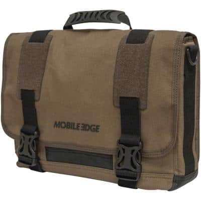 Olive Cotton Messenger Bag with 14 in. PC/15 in. Macbook Pro Chromebook/Ultrabook Laptop Compartment