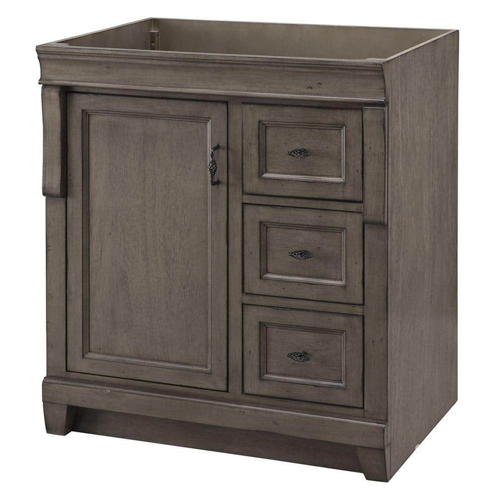 Home Decorators Collection Naples 30 In W Bath Vanity Cabinet Only In Distressed Grey With Right Hand Drawers Nadga3021d The Home Depot