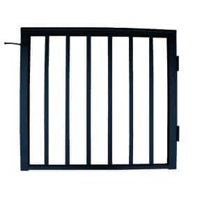 36 in x 42 in. Textured Black Pre-Built Aluminum Single-Panel Gate