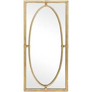 Medium Rectangle Gold Antiqued Classic Mirror (30 in. H x 14 in. W)
