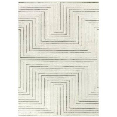Carmody Cream 8 ft. x 10 ft. Modern Stripe Area Rug