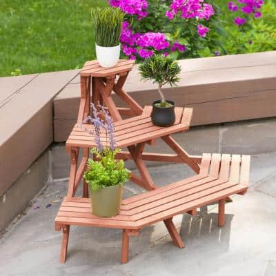 38 in. x 24 in. Medium Brown Solid Wood 3-Tier Quarter Round Plant Stand