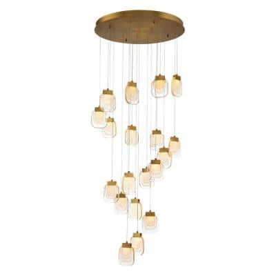 Paget Integrated LED Gold Chandelier with Handmade Glass Shade