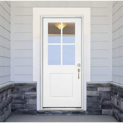 32 in. x 80 in. Legacy 4 Lite Half Lite Clear Glass Left Hand Inswing White Primed Fiberglass Prehung Front Door