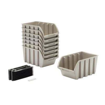 4 lbs. Medium Storage Bin with Wall Mount Rails in Gray (8-Pack)