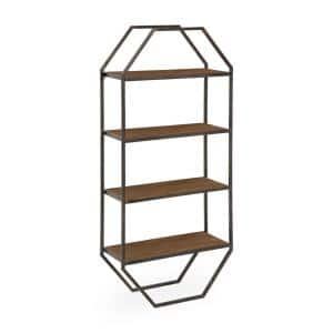 Adela 8 in. x 18 in. x 41 in. Brown Wood Floating Decorative Wall Shelf Without Brackets