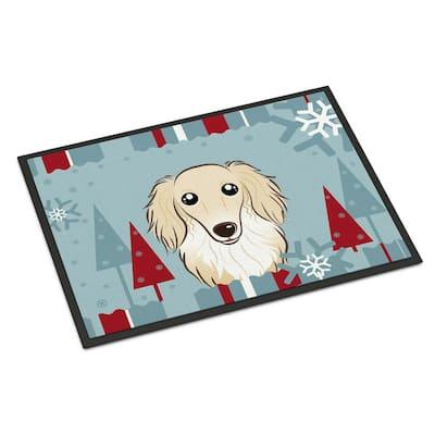 24 in. x 36 in. Indoor/Outdoor Winter Holiday Longhair Creme Dachshund Door Mat
