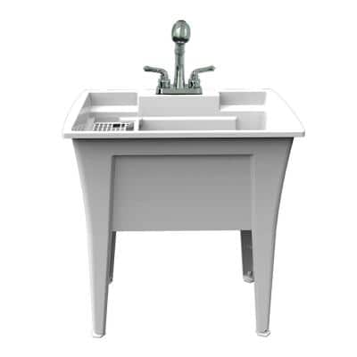 32 in. x 22 in. Polypropylene White Laundry Sink with 2 Hdl Non Metallic Pullout Faucet and Installation Kit