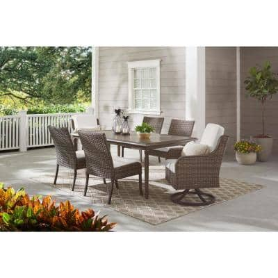 Windsor Brown Wicker Outdoor Patio Stationary Armless Dining Chair with CushionGuard Chalk White Cushions (2-Pack)