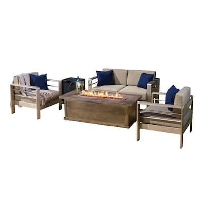 Cape Coral Khaki 5-Piece Aluminum Patio Fire Pit Conversation Set with Khaki Cushions