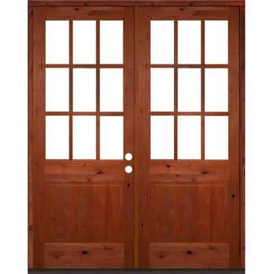 72 in. x 96 in. Craftsman Knotty Alder Wood Clear 9-Lite Red Chestnut Stain Left Active Double Prehung Front Door