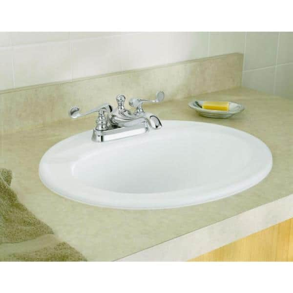 Kohler Pennington Top Mount Vitreous China Bathroom Sink In White With Overflow Drain K R2196 4 0 The Home Depot