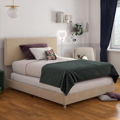 Taylor Ivory Velvet Upholstered Queen Size Bed Frame