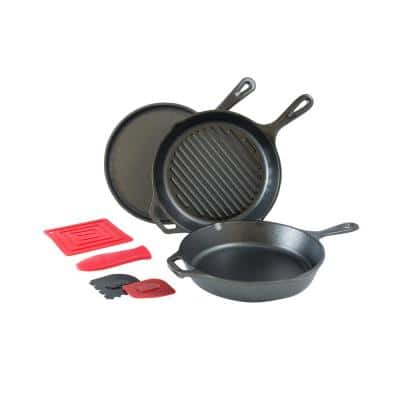 7-Piece Cast Iron Cookware Set in Black