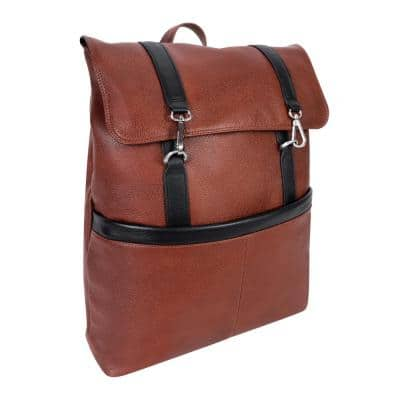 Mcklein Element, Pebble Grain Calfskin Leather, 17 in. 2-Tone, Flap-Over, Laptop and Tablet Backpack, Brown (18470)
