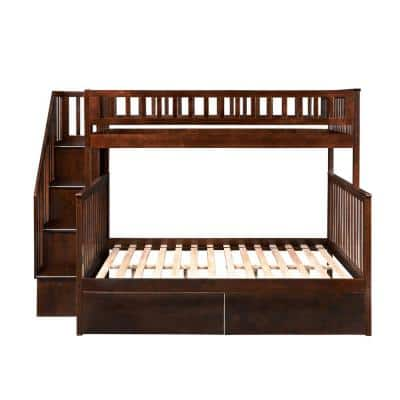 Woodland Walnut Twin Over Full Staircase Bunk Bed with 2-Urban Bed Drawers