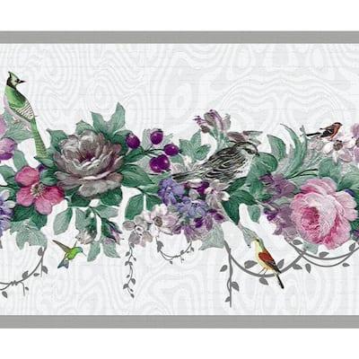 Falkirk Dandy Pink, Purple Flowers, Birds Floral Peel and Stick Wallpaper Border