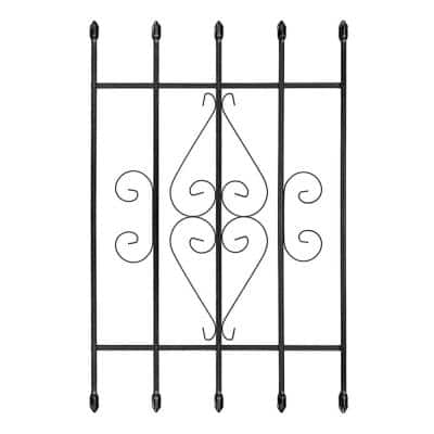 24 in. x 36 in. Su Casa Black 5-Bar Window Guard