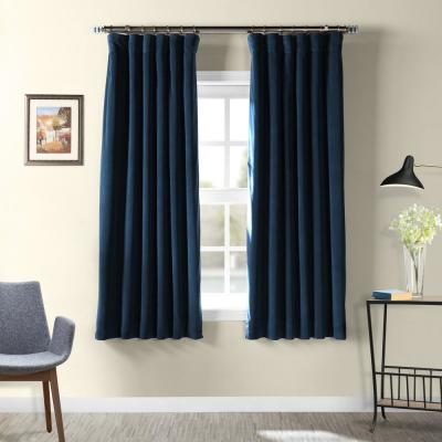 Midnight Blue Rod Pocket Blackout Curtain - 50 in. W x 63 in. L