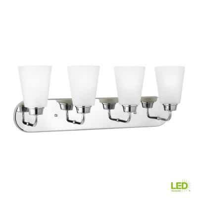 Kerrville 4-Light Chrome Bath Light with LED Bulbs