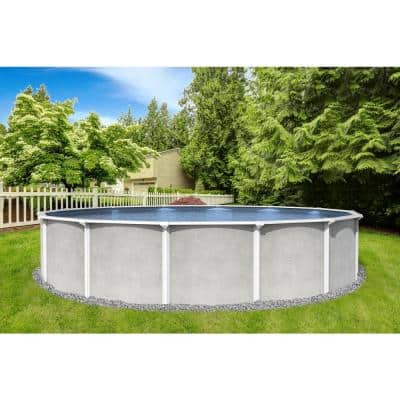 Maldives 24 ft. Round 52 in. D x 6 in. Top Rail Hard Sided Swimming Pool Package