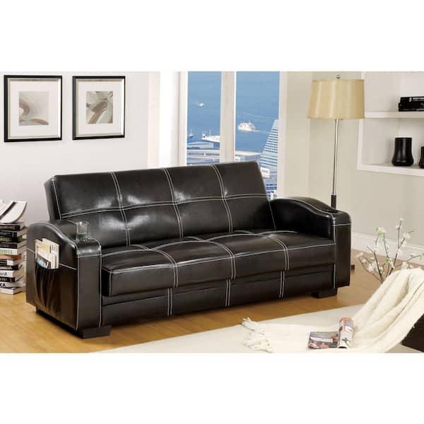 William S Home Furnishing Colona Contemporary Style Black Futon Sofa Cm2690 The Home Depot