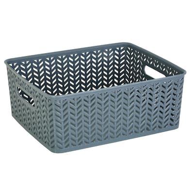 5.15 in. H x 11.5 in. W x 14 in. D Gray Plastic Cube Storage Bin