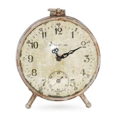 Vintage Antique Beige Distressed Table Clock