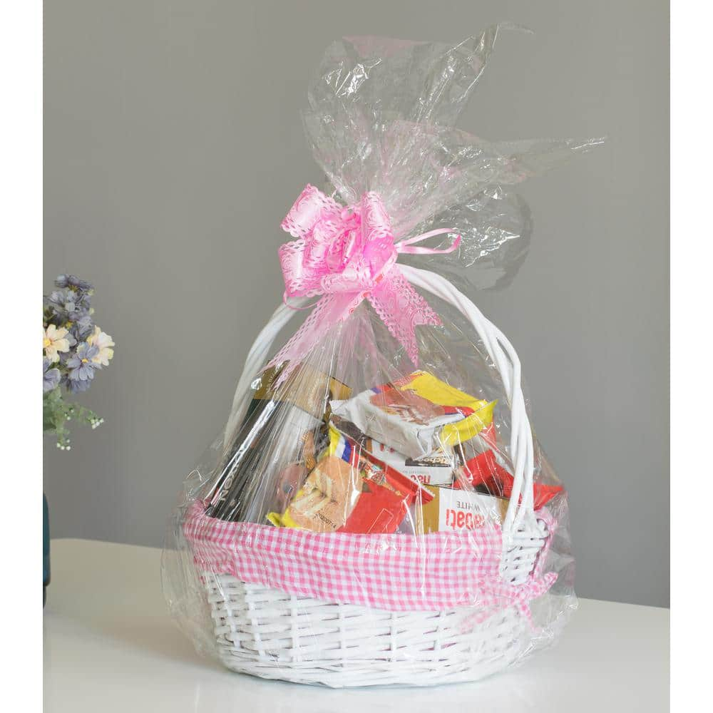 Easter Jubilee Oval Natural Willow Basket Pink Plaid Gingham Liner Multi Size