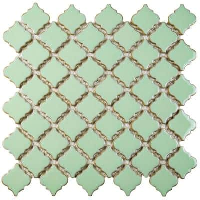 Hudson Tangier Light Green 12 in. x 12 in. Porcelain Mosaic Tile (10.96 sq. ft. / Case)