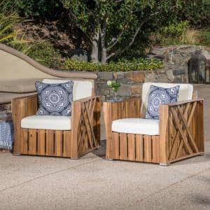 Naturally Stained Farmhouse-Style Wood Outdoor Lounge Chairs with Cream Cushion (2-Pack)