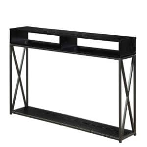Tucson 48 in. Black Standard Rectangle Console Table with Shelves