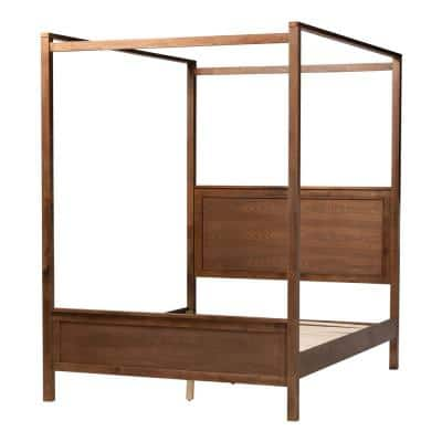 Veronica Walnut Brown Queen Platform Canopy Bed